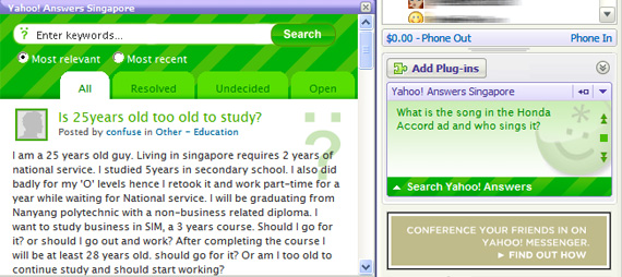 Yahoo! Answers Singapore Plugin