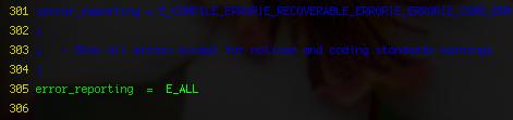 php.ini error reporting