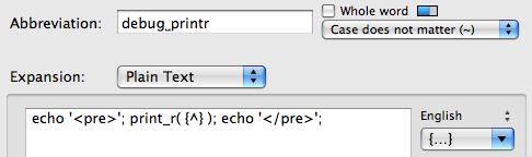 Abbreviation definition for debug_printr