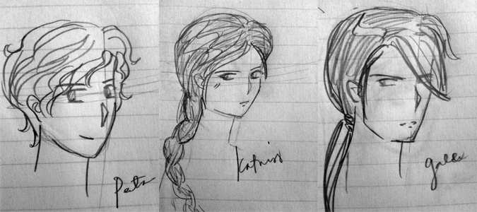 Peeta, Katniss and Gale (quick sketch)