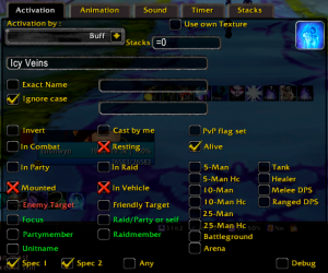 Power Auras Classic - activation tab