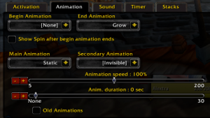 Power Auras Classic - animation tab