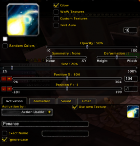Power Auras Classic - Penance settings