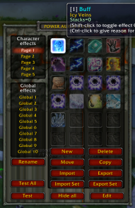 Power Auras Classic - settings screen