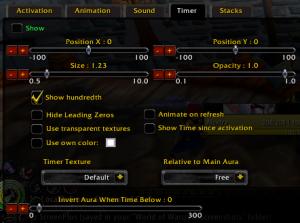 Power Auras Classic - timer tab